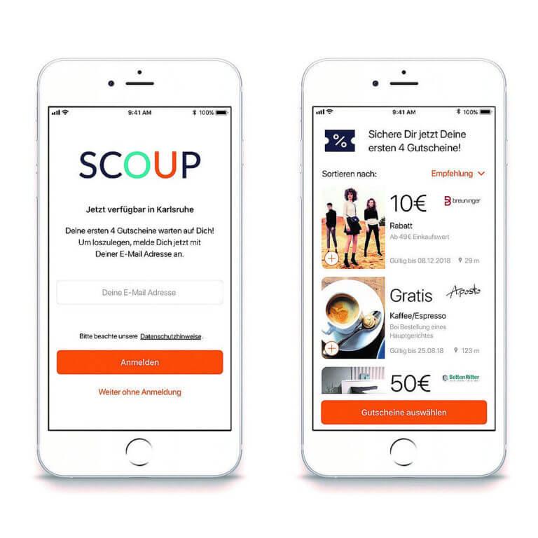Mobile Mockup aus zwei Beispielseiten der Scoup App