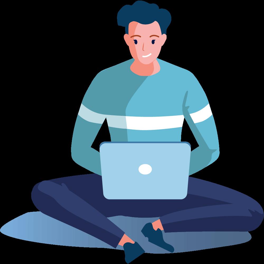 Person im Schneidersitz mit Laptop