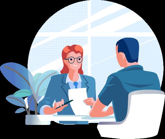 Illustration: Personen sitzen gegenüber bei einem Bewerbungsgespräch.