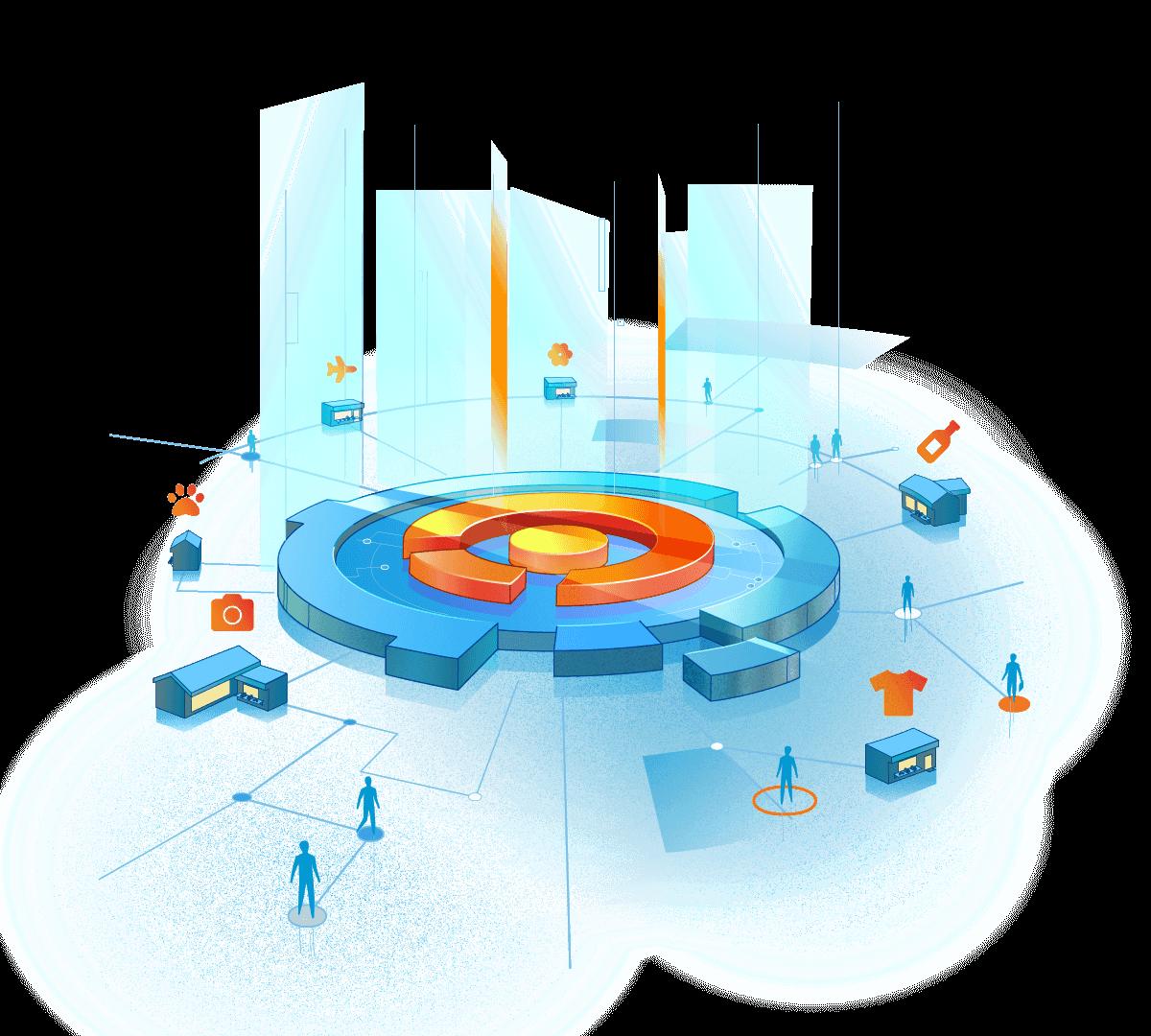 abstrakte Darstellung des Sovendus Netzwerkes mit Vernetzungen zwischen Shops, Partner & Kunden