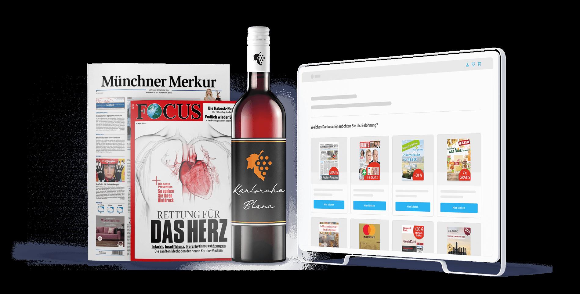 Zeitung Münchner Merkur, Focus, Flasche Wein Karlsruhe Blanc und Sovendus Produkt Seite auf Desktop-Bildschirm