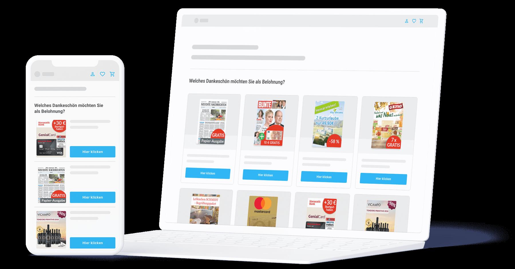 Sovendus Select auf Smartphone und Laptop. Zu sehen sind zur Auswahl stehende Zeitschriften.