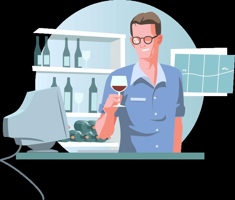 Illustration: Geschäftsführer Oliver Stoll mit Weinglas vor dem Computer. Im Hintergrund ein Weinregal und ein Diagramm.