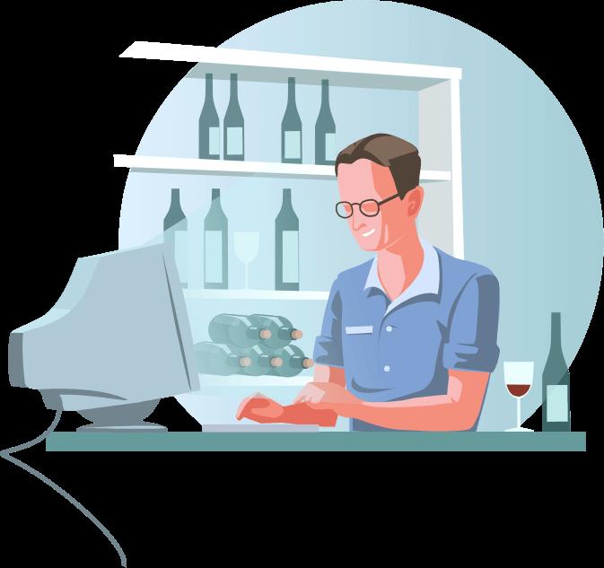 Illustration: Geschäftsführer Oliver Stoll mit Weinglas vor dem Computer. Im Hintergrund ein Weinregal