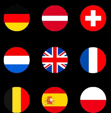 Flaggen von Deutschland, Österreich, Schweiz, Niederlande, Großbrittanien, Frankreich, Belgien, Spanien, Polen