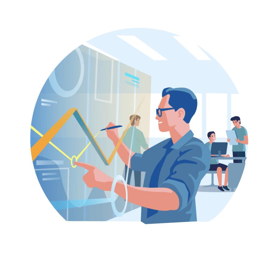 Illustration: Mann arbeitet an einem digitalen Board mit Graphnen, zwei weitere Männer im Gespräch vor dem Computer.