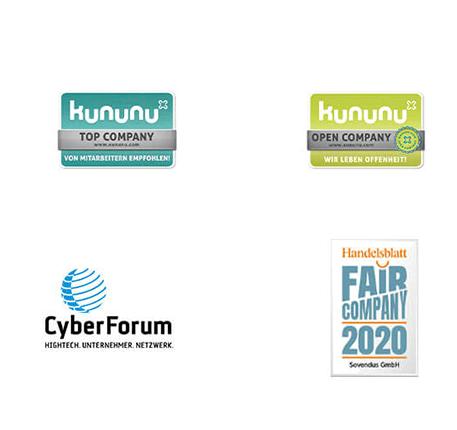 Zusammenstellung der Auszeichnungen die Sovendus erhalten hat. Kununu Top Company, Kununu Open Company, CyberForum und Fair Company 2020