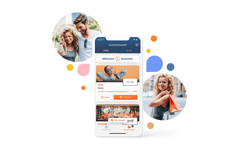 App Dummy, Gutscheinansicht und Karte mit bunten Kreisen und Bildern