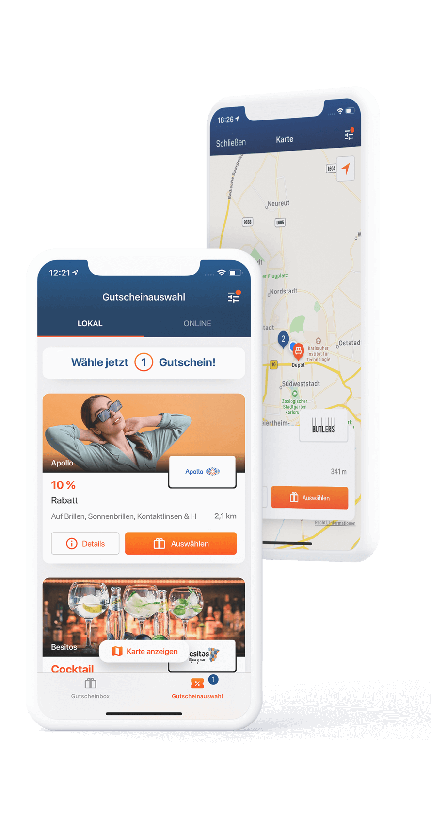 App Dummy, Gutscheinansicht und Karte