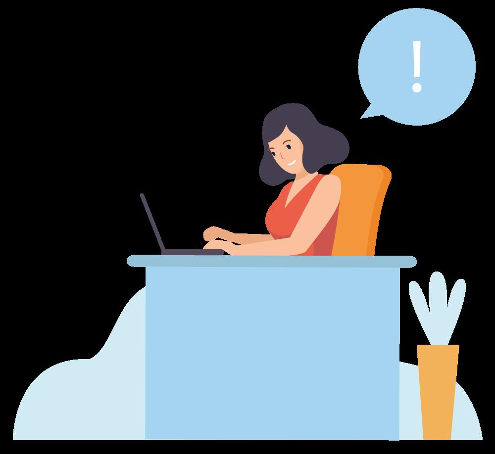 Illustration: Frau am Laptop mit einem Ausrufezeichen in der Sprechblase