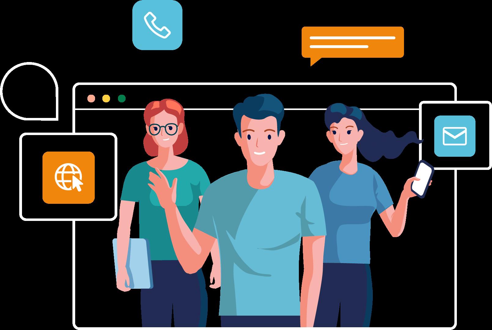 Illustration: Drei Personen mit Webseiten und Icons um sie herum