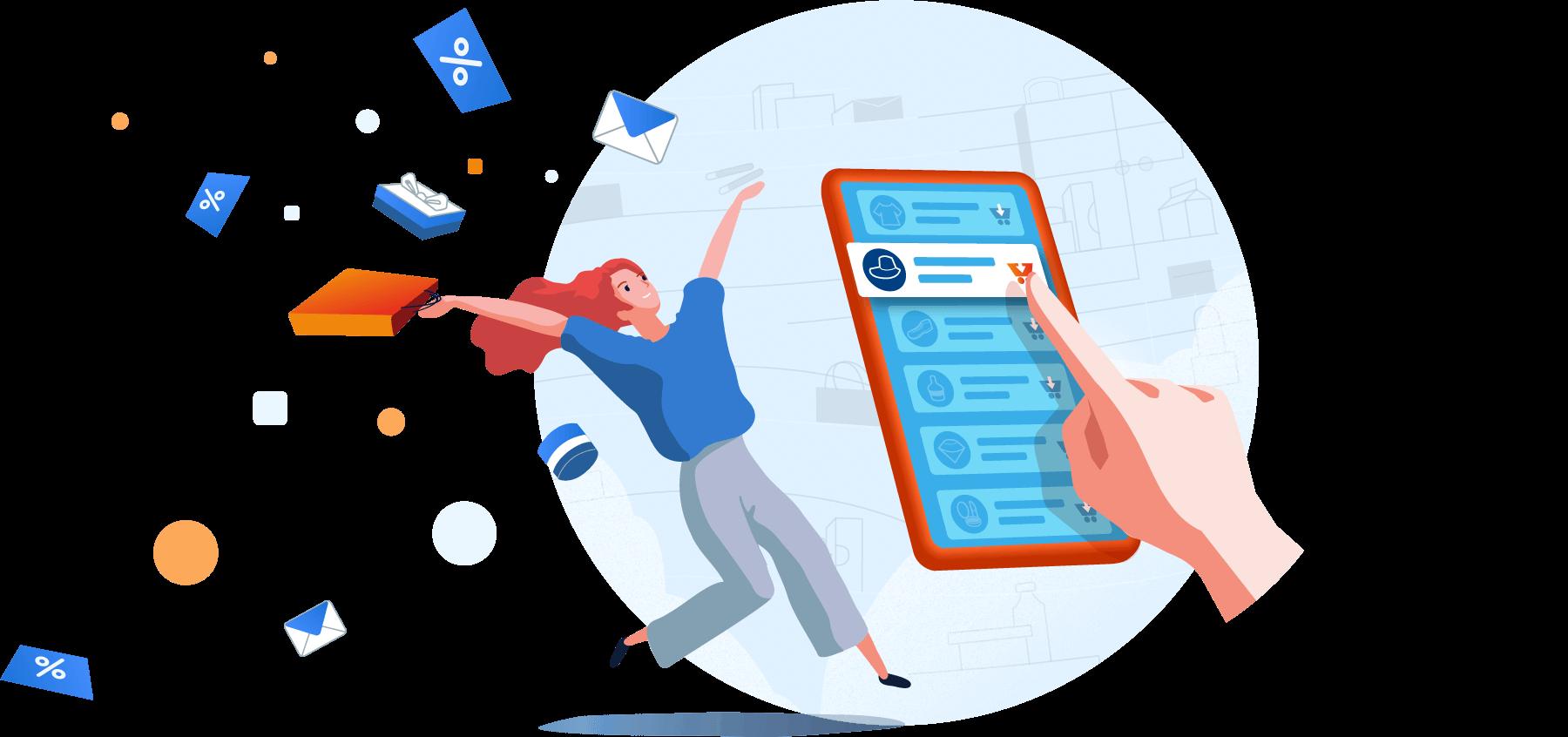 Illustration: Finger der ein Gutschein in einer App auswählt, dahinter eine springende Frau, die ihre Einkaufstüte hochwirft. Um sie herum fliegen Gutscheine