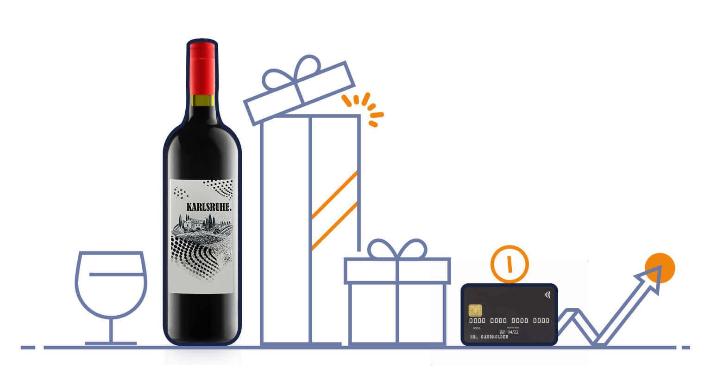 Collage aus Clipart und Foto. Von links nach rechts Weinglas, Foto Karlsruher Weinflasche, zwei Geschenke, Kreditkarte und nach oben zeigender Pfeil.