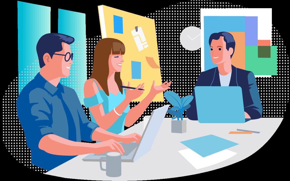 Illustration Personen sitzen im Meeting, im Hintergrund Boards mit Zetteln
