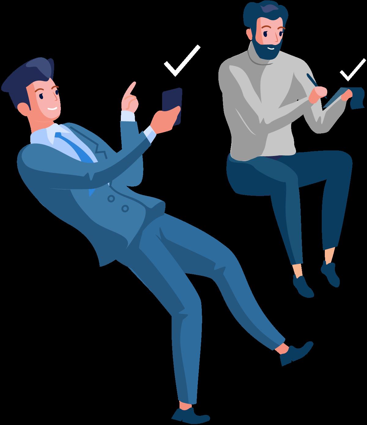 Illustration: Zwei Männer in eleganter Kleidung. Linker Mann mit Smartphone in der Hand, rechter Mann mit Notizblock und Kugelschreiber